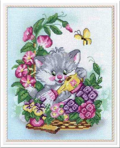 """Набор для вышивания крестом """"Котик с лейкой"""", 26 см х 21 см. РК-324, М.П.Студия"""