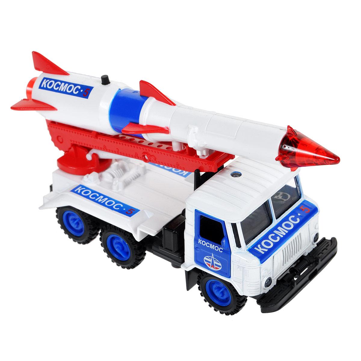ТехноПарк Машинка инерционная ГАЗ 66 с ракетой Космос трейлер технопарк с ракетой
