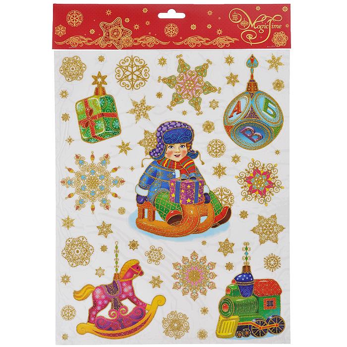 Новогоднее оконное украшение Magic Time Мальчик на санках и игрушки. 34328 украшение новогоднее оконное 42206
