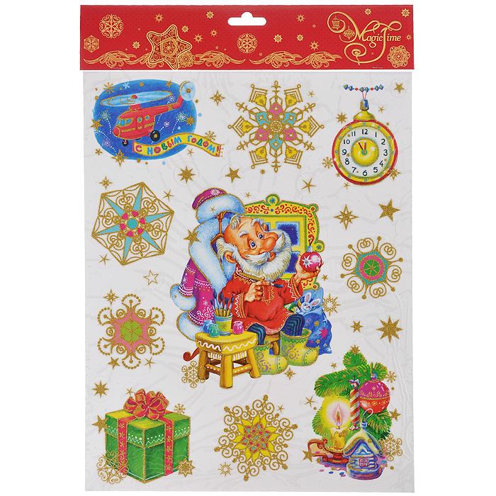 Новогоднее оконное украшение Magic Time Дед Мороз и подарки. 34340 новогоднее оконное украшение феникс презент дедушка мороз с девочкой 30 х 38 см