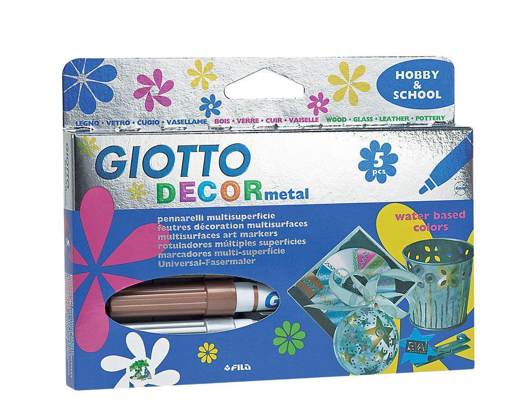Фломастеры Giotto Decor Metal, для декорирования, 5 цветов452900В наборе 5 цветов: золотой, серебристый, бронзовый, красный, бирюзовый.