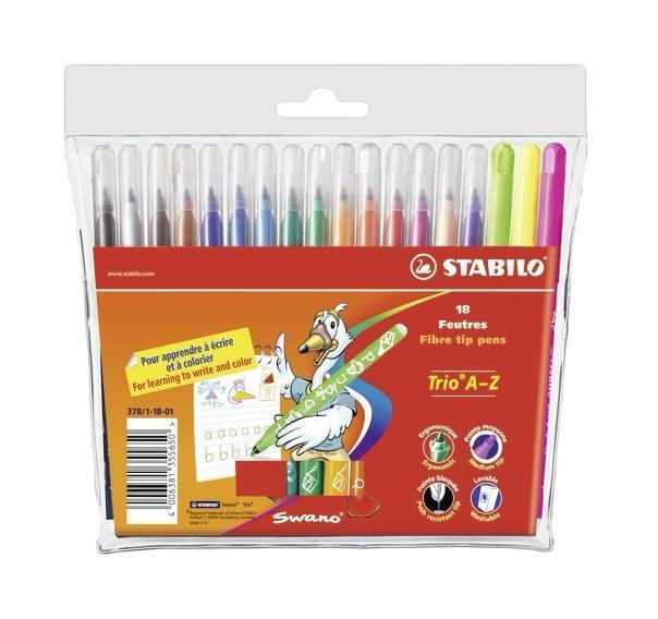 Фломастеры Stabilo Trio A-Z, 18 цветов378/1-18-03Трехгранная форма фломастера предотвращает усталость детской руки при рисовании и позволяет привить ребенку навык правильно держать пишущий инструмент. Фломастеры рисуют яркими насыщенными цветами. Чернила на водной основе не имеют запаха и легко отстирываются водой. Фломастеры соответствуют всем требованиям безопасности, имеют вентилируемый колпачок и не токсичны. Наборы 18 цветов на любой вкус! Тонкий наконечник, толщина линии 0,7 мм.