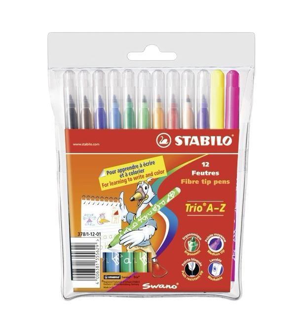 Фломастеры Stabilo Trio A-Z, 12 цветов378/1-12-03Трехгранная форма фломастера предотвращает усталость детской руки при рисовании и позволяет привить ребенку навык правильно держать пишущий инструмент. Фломастеры рисуют яркими насыщенными цветами. Чернила на водной основе не имеют запаха и легко отстирываются водой. Фломастеры соответствуют всем требованиям безопасности, имеют вентилируемый колпачок и не токсичны. Наборы 12 цветов на любой вкус! Тонкий наконечник, толщина линии 0,7 мм.