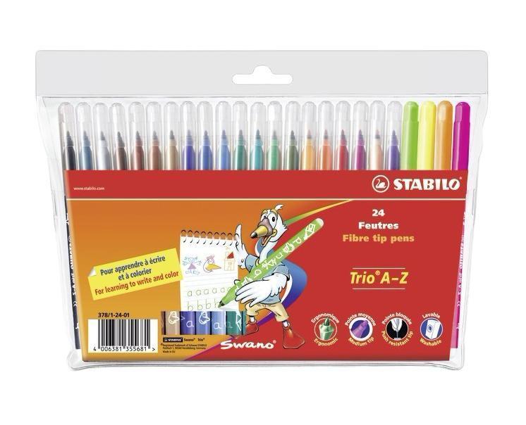 Фломастеры Stabilo Trio A-Z, 24 цвета378/1-24-03Трехгранная форма фломастера предотвращает усталость детской руки при рисовании и позволяет привить ребенку навык правильно держать пишущий инструмент. Фломастеры рисуют яркими насыщенными цветами. Чернила на водной основе не имеют запаха и легко отстирываются водой. Фломастеры соответствуют всем требованиям безопасности, имеют вентилируемый колпачок и не токсичны. Наборы 24 цвета на любой вкус! Тонкий наконечник, толщина линии 0,7 мм.