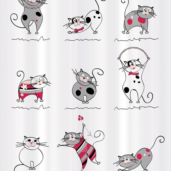 Штора для ванной комнаты Tatkraft Funny Cats, 180х180 см, полиэстер14664Текстильная штора для ванной Tatkraft Funny Cats, изготовленная из полиэстера, декорирована изображением забавных котов. Изделие имеет специальную водоотталкивающую пропитку и антигрибковое покрытие.Штора быстро сохнет, легко моется и обладает повышенной износостойкостью. В комплекте также имеется 12 пластиковых овальных колец. Штора оснащена магнитами-утяжелителями для лучшей фиксации.Мягкая и приятная на ощупь штора для ванной Tatkraft Funny Cats порадует вас своим ярким дизайном и добавит уюта в ванную комнату.Можно стирать в стиральной машине при температуре 40°С.