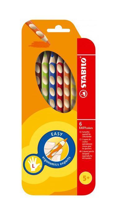 Набор цветных карандашей Stabilo Easycolors для левшей, 6 цветов331/6Преимущества карандашей STABILO EASYcolors. Специальные углубления на корпусе карандаша подсказывают ребенку как располагать большой и указательный пальцы, прививая первоначальный навык правильно держать пишущий инструмент. Расположение углубление по всей длине корпуса обеспечивает правильное удержание карандаша ребенком при письме и рисовании даже после заточки карандаша. С течением времени навык автоматически закрепляется в памяти ребенка, позволяя ему быстрее и легче адаптироваться к процессу обучения письму, освоить правильную технику письма и сделать письмо красивым и быстрым.Создают максимальный комфорт для ребенка - трехгранная форма карандаша соответствует естественному захвату руки, уменьшая мышечные усилия, необходимые для его удержания, - ребенок может рисовать длительное время без ощущения усталости. Утолщенная форма корпуса облегчает удержание карандашей детьми с недостаточно развитой мелкой моторикой руки. Карандаши разработаны с учетом особенностей строения руки ребенка и имеют две версии: для правшей и для левшей, обеспечивая им одинаково комфортное письмо. Рекомендуются в начале обучения рисованию и письму.Мягкий грифель легко рисует на бумаге, не царапая ее и не крошась, и оставляет яркий след без каких-либо усилий Утолщенный грифель диаметром 4,5 мм не нуждается в постоянном затачивании, так как имеет повышенную стойкость к поломкам. 6 ярких насыщенных цветов, карандаши можно подписать.Карандаши являются обладателями Европейского сертификата качества (маркировка на корпусе СЕ), что подтверждает их высочайшее качество и безопасность для здоровья.