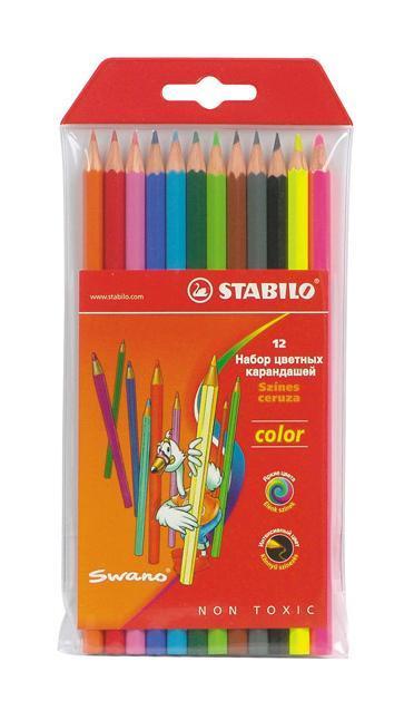 Набор цветных карандашей Stabilo Color, 12 цветов1212-77-03Цветные карандаши STABILO color шестигранной формы. Широкая гамма цветов, которые отлично смешиваются и позволяют создавать огромное количество оттенков. Насыщенные цвета имеют высокую светостойкость. Мягкий грифель легко рисует на бумаге, не царапая ее и не крошась. Карандаши не ломаются при рисовании и затачивании. В наборе 10 базовых цветов и 2 флуоресцентных цвета.