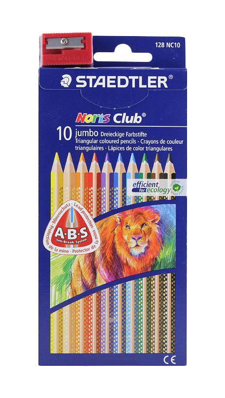 Staedtler Набор цветных карандашей Noris Club Jumbo 128 10 цветов с точилкой128 NC1002Набор цветных карандашей Noris Club Jumbo состоит из 10 карандашей ярких и насыщенных цветов. Карандаши очень эргономичны и имеют прочный грифель. К набору прилагается точилка для карандашей. Яркие цвета и превосходное качество порадуют и детей и родителей.