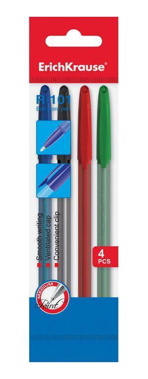 Набор шариковых ручек Erich Krause R-101, цветные, 4 штEK33517