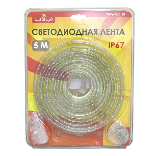 Светодиодная лента Luck&Light, 5 метров, цвет: белыйL&L-60N5MГибкая светодиодная лента с высокой степенью защиты предназначена для декоративного освещения вне помещений. С помощью отдельных сегментов (1 м, 2 м, 5 м), оснащенных надежным винтовым соединением, Вы легко соберете конструкцию необходимой длины.Лента укомплектована набором для крепления к поверхности.Для подключения ленты необходимо приобрести блок питания модель L&L3528EW. Блок питания приобретается отдельно.Мощность: 7,6 Вт/м.Тип SMD: 3528.Количество LED: 60 LED/м.Рабочее напряжение: 220 В.Частота тока: 50/60 Гц.Длина: 5 м.Степень защиты: IP67.