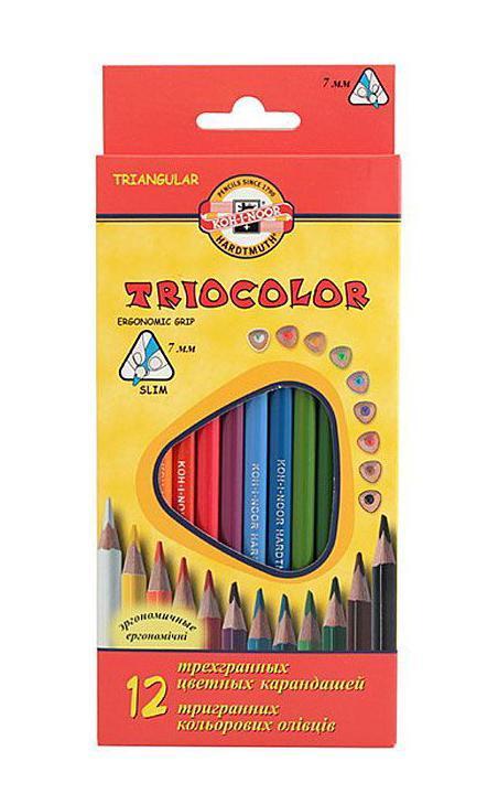 Цветные карандаши Triocolor, 12 цветов карандаши bruno visconti набор карандашей цветных disney белоснежка 6 цветов