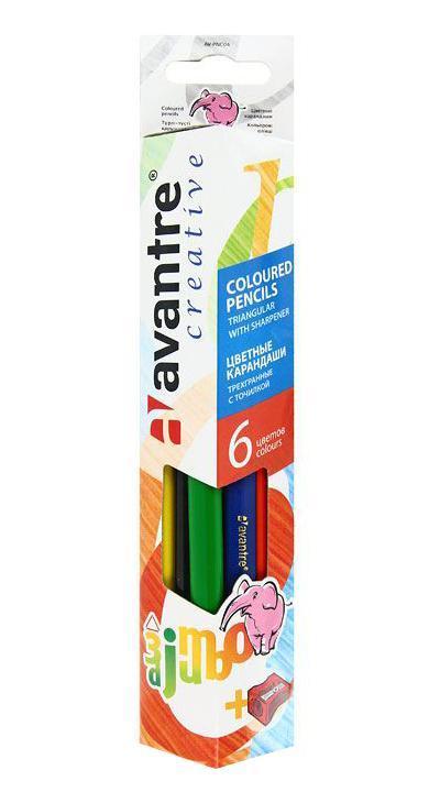 Цветныекарандаши Jumbo, 6 цветовAV-PNC04Цветные карандаши Jumbo разработаны специально для самых маленьких художников. Благодаря утолщенному корпусу и эргономичной трехгранной форме карандаши особенно удобны для детской руки. Специальное покрытие и многослойная лакировка уменьшают скольжение, что делает процесс рисования максимально комфортным. Мягкий, ударопрочный грифель не ломается и не крошится при заточке, а его утолщенный диаметр позволяет получать более широкую и насыщенную линию.Набор Jumbo включает 6 карандашей ярких насыщенных цветов (синего, черного, желтого, оранжевого, красного, зеленого) и точилку. Все карандаши предварительно заточены.