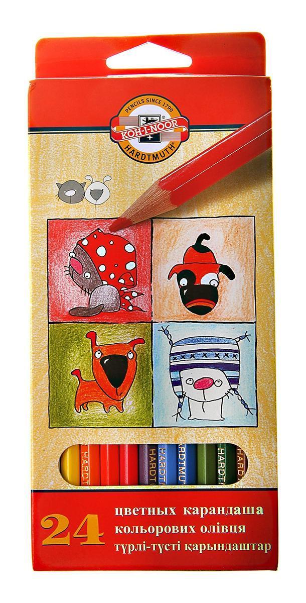 Цветные карандаши Собаки и Кошки, 24 цвета centrum карандаши цветные monster high