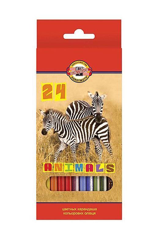 Цветные карандаши Животные, 24 цвета3554/24 8 KSЦветные карандаши Животные непременно, понравятся вашему юному художнику. Набор включает в себя 24 ярких насыщенных цветных карандаша, которые идеально подходят для малышей. Шестигранный корпус изготовлен из натуральной древесины. Карандаши имеют прочный неломающийся грифель, не требующий сильного нажатия и легко затачиваются. Порадуйте своего ребенка таким восхитительным подарком!