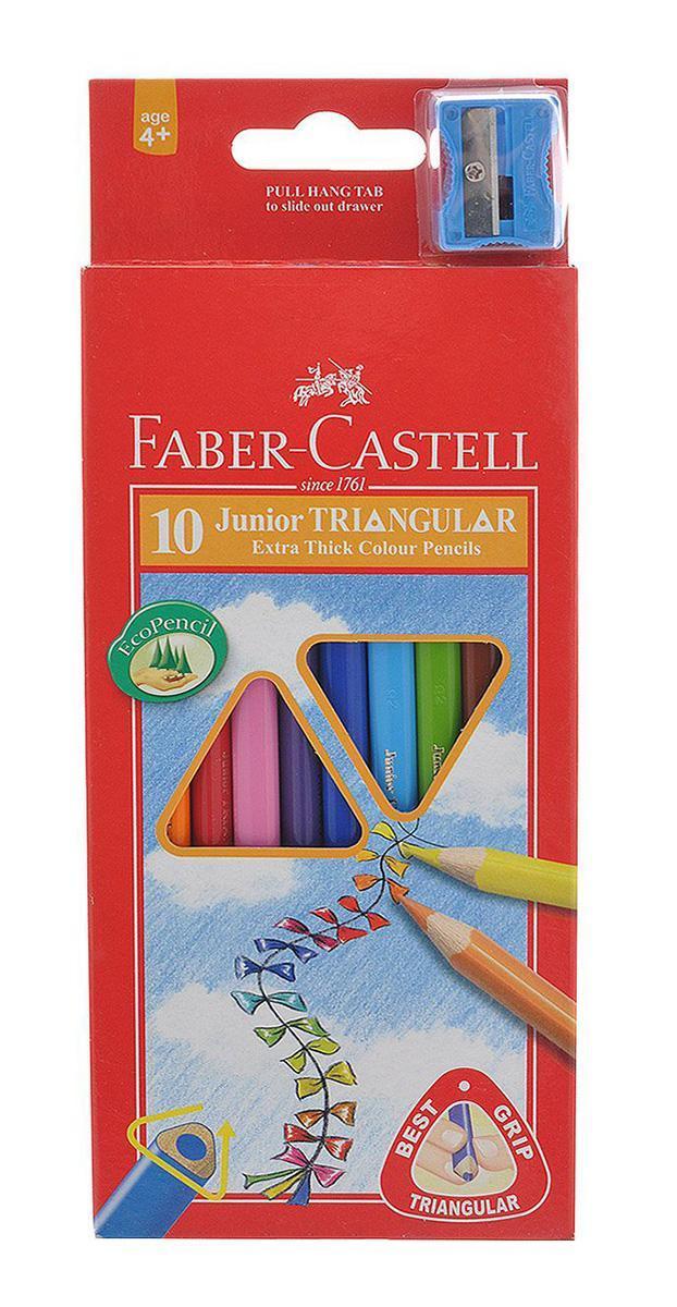 Цветные карандаши JUNIOR GRIP с точилкой, набор цветов, в картонной коробке, 10 шт.FC 116510Цветные трехгранные карандаши Faber-Castell Junior Triangular Grip откроют юным художникам новые горизонты для творчества, а также помогут отлично развить мелкую моторику рук, цветовое восприятие, фантазию и воображение. Благодаря трехгранной форме они особенно удобны для детской руки. Корпус изготовлен из качественной мягкой древесины для хорошего затачивания. Карандаши покрыты лаком на водной основе для защиты окружающей среды. Специальная SV технология вклеивания грифеля предотвращает его поломку при падении на пол. Корпус карандашей окрашен под цвет грифеля. Комплект включает 10 карандашей ярких насыщенных цветов и точилку. Карандаши уже заточены, поэтому все, что нужно для рисования - это взять чистый лист бумаги, и можно начинать! Вид карандаша: цветной.Особенности: С точилкой.Материал: дерево.