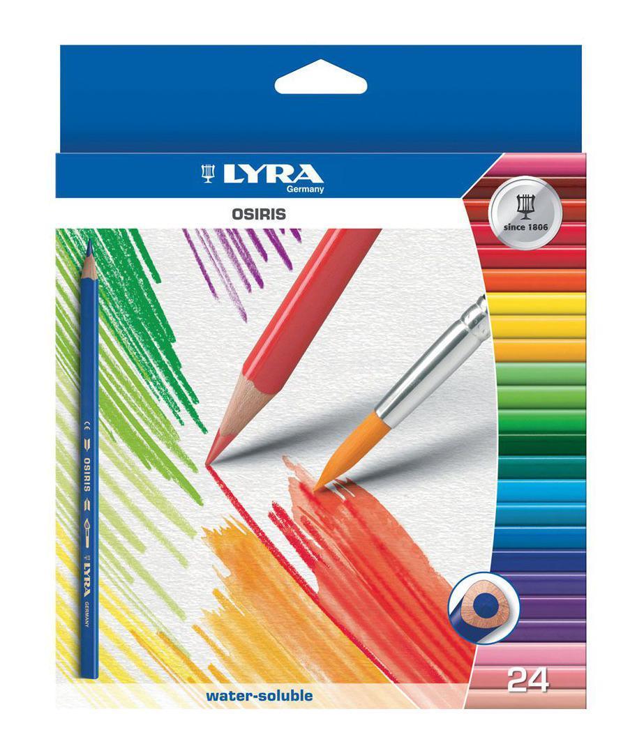 Цветные карандаши Lyra Osiris Aquarell, акварельные, 24 цвета карандаши fila lyra graduate гексагональные цветные карандаши 12шт картонная упаковка