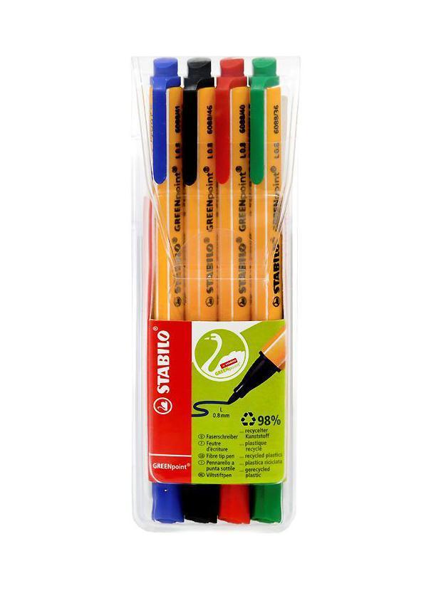 Набор ручек Greenpoint, 4 цвета6088/4STABILO GREENpoint 6088. Экопродукция - корпус ручки на 98% изготовлен из переработанного пластика. Предназначена для письма, черчения, рисования. Толщина линии 0,8мм обеспечивает исключительно мягкое письмо и позволяет использовать ручку как тонкопишущий фломастер. Чернила на водной основе отличаются повышенной интенсивностью цвета. Износостойкий пишущий узел и большой запас чернил значительно увеличивают срок службы ручки.