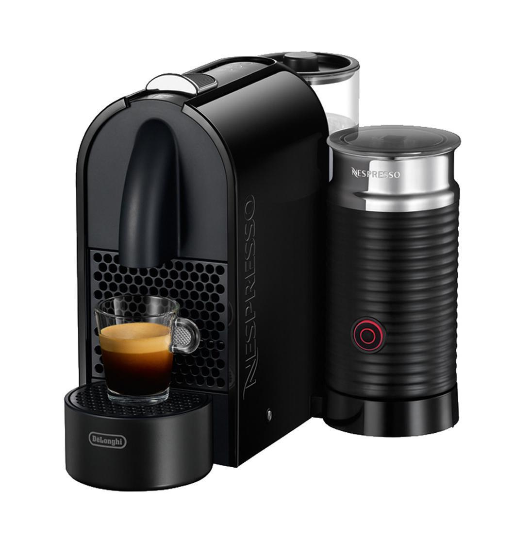 DeLonghi EN 210.BAE Nespresso кофеваркаEN 210.BAEКофемашина DeLonghi NESPRESSO U&MILK EN 210 BAE оснащена встроенным Aerocinno, который предназначен для приготовления молочной пены, горячего или холодного молока. Универсальный дизайн прибора позволяет выбрать удобное положение емкости для воды, капучинатора и 3 различных позиции подставки для чашек.Ключевые преимущества:Встроенный AerocinnoАвтоматическое завариваниеУдобная система установки капсул