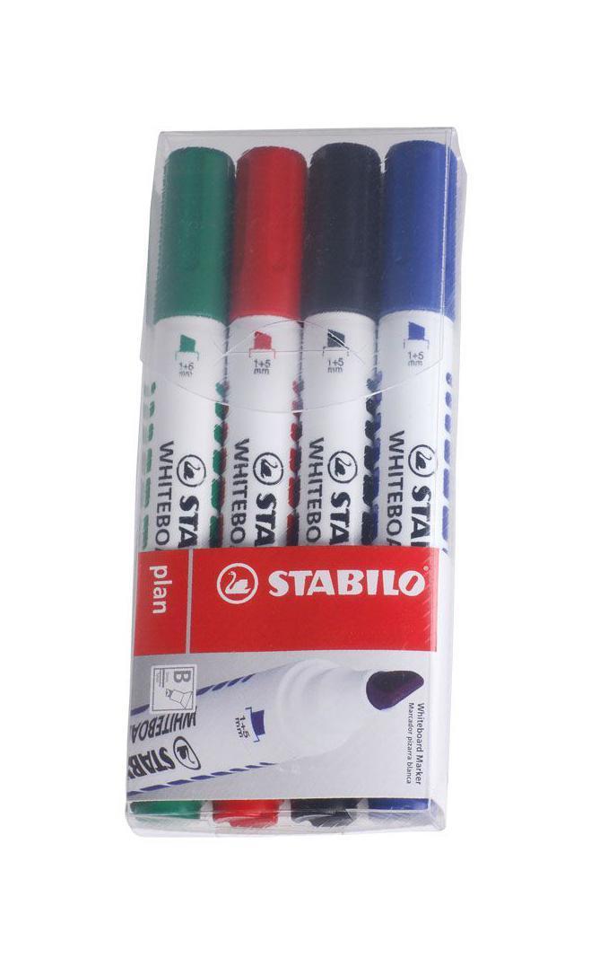 Набор маркеров Stabilo Plan, 4 шт643/4STABILO plan 641.Заправляемый маркер для белых досок с круглым наконечником. Надписи легко и без следов удаляются сухой салфеткой или специальной губкой. Идеально подходит для письма на флипчартах и бумаге. Чернила без запаха. Толщина линии 2,5-3,5 мм.Набор маркеров для досок STABILO plan 641 в пластиковом футляре. Четыре цвета: синий, черный, красный, зеленый.