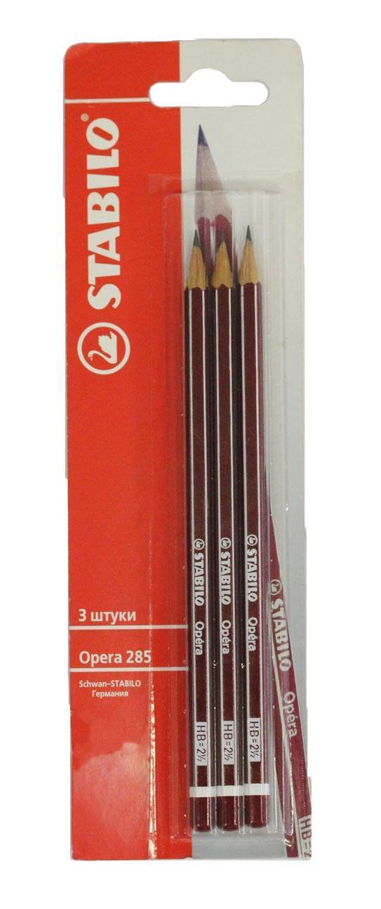 Набор чернографитных карандашей Stabilo Opera 285, твердость: НВ, 3 шт285/3BЧернографитный карандаш самого высокого качества не ломается при письме и затачивании. Многослойное лаковое покрытие обеспечивает идеальный внешний вид карандаша на протяжении всей службы.
