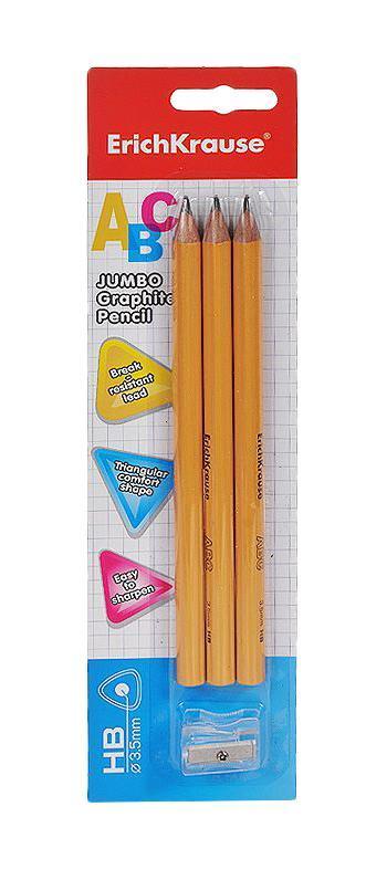 Набор чернографитных карандашей Jumbo, с точилкой, 3 штEK32866Набор чернографитных карандашей Jumbo пригодится на рабочем столе и в пенале любого школьника или студента. Благодаря утолщенному корпусу и эргономичной трехгранной форме карандаши особенно удобно держать. Корпус карандашей изготовлен из древесины, гладкость которой обеспечена многослойной покраской. Они уже заточены, поэтому все, что нужно для рисования или черчения, - это взять чистый лист бумаги, и можно начинать!Комплект включает 3 толстых чернографитных карандаша и точилку.