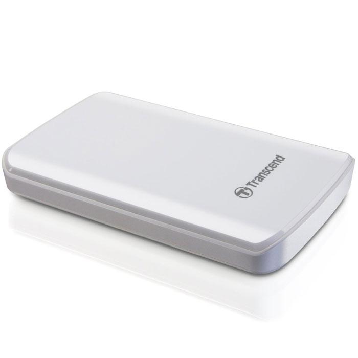 Transcend StoreJet 25D3 1TB, White внешний накопитель (TS1TSJ25D3W)TS1TSJ25D3WОдно из первых периферийных устройств, совместимых с USB 3.0 - это 2,5-дюймовый ударопрочный портативный жесткий диск Transcend StoreJet 25D3. Модель SuperSpeed USB 3.0 отличается более высокой производительностью, чем внешние жесткие диски с интерфейсом USB 2.0. Скорость передачи данных в реальных условиях достигает 90 МБ/с. StoreJet 25D3 представляет собой высокоскоростное и долговечное решение для работы со сложными современными устройствами благодаря повышенной скорости передачи данных и усовершенствованной конструкции. StoreJet 25D3 обратно совместим с интерфейсом USB 2.0, что дает возможность пользователям получить доступ к файлам практически с любого компьютера. Благодаря многоцветному светодиодному индикатору USB 3.0/2.0 можно с легкостью определить тип текущего соединения накопителя. При подключении по USB 2.0 индикатор будет оранжевым, при подключении по USB 3.0 индикатор будет синим. Под внешне хрупким корпусом с блестящим покрытием находится амортизационная система, использующая технологию внутренней подвески. Передовая система внутренней подвески жесткого диска помогает предотвратить повреждения при случайном падении во время транспортировки, которые могут вызвать потерю большого объема данных. StoreJet 25D3 автоматически переходит в режим ожидания после десяти минут бездействия, сохраняя до 40% энергии.Индикатор режима работыЧастота вращения 5400 об/минПоддержка стандарта Plug&PlayПоглощающая удары и вибрации двухуровневая система защитыНакопитель автоматически переходит в режим сна после десяти минут простояСкорость передачи данных: до 5 Гб/сСистемные требования: Windows XP/Vista/Windows 7, Mac OS X 10.4 (только USB 2.0), Linux Kernel 2.6.31