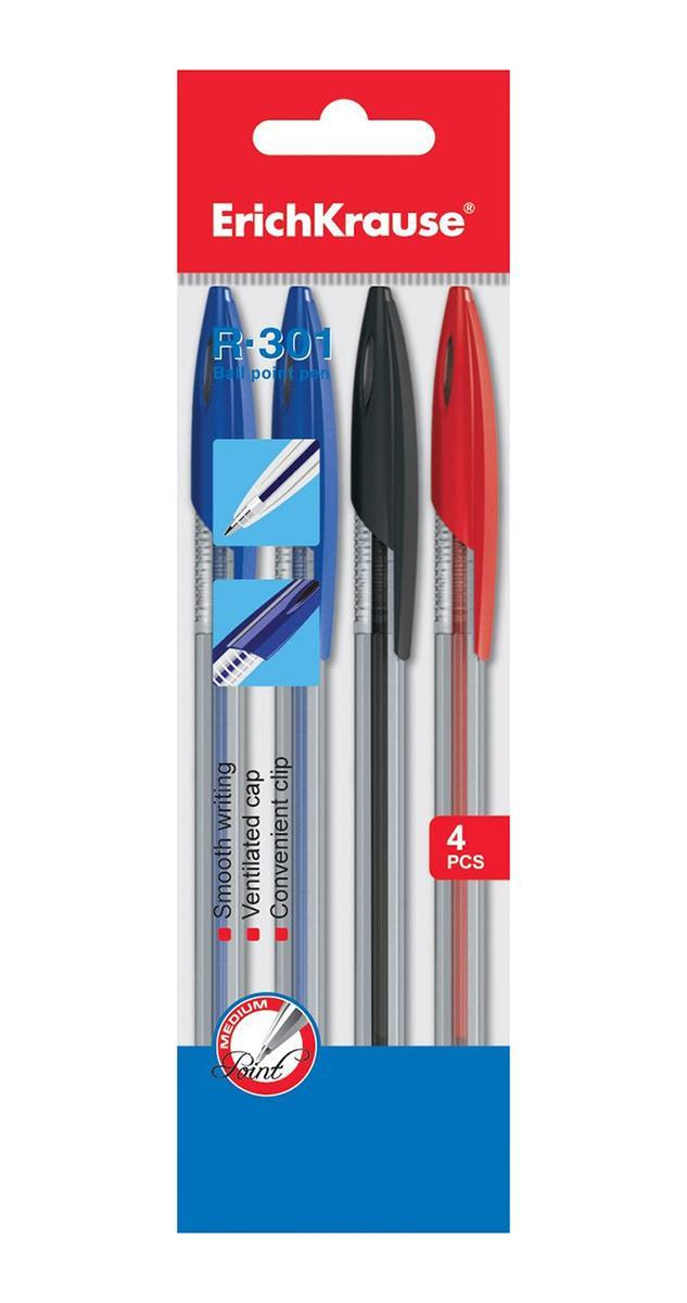Набор шариковых ручек R-301, 4 шт22033Уважаемые клиенты! Обращаем ваше внимание на возможные изменения в дизайне упаковки. Качественные характеристики товара остаются неизменными. Поставка осуществляется в зависимости от наличия на складе.
