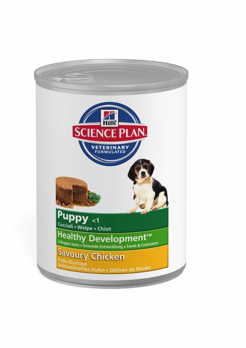 Консервы для щенков Hills Healthy Development, с курицей, 370 г8036Консервы для щенков Hills Puppy - это полноценный, сбалансированный корм для растущих щенков с момента отъема от матери до 12 месяцев, а также для беременных и кормящих сук. Состав: курица (мин 30%), перловая крупа, кукуруза, мука из соевых бобов, печень, дикальция фосфат, йодированная соль, кальция карбонат, калия хлорид.Средний анализ: белок 8,4%, жир 7,1%, клетчатка 0,4%, зола 2,2%, влага 69,9%.Добавки на кг: Е671 (Витамин D3) 400 МЕ, Е1 (железо) 13,6 мг, Е2 (йод) 0,4 мг, Е4 (медь) 1,7 мг, Е5 (марганец) 3 мг, Е6 (цинк) 43,3 мг, Е8 (селен) 0,07 мг.Вес: 370 г.Товар сертифицирован.