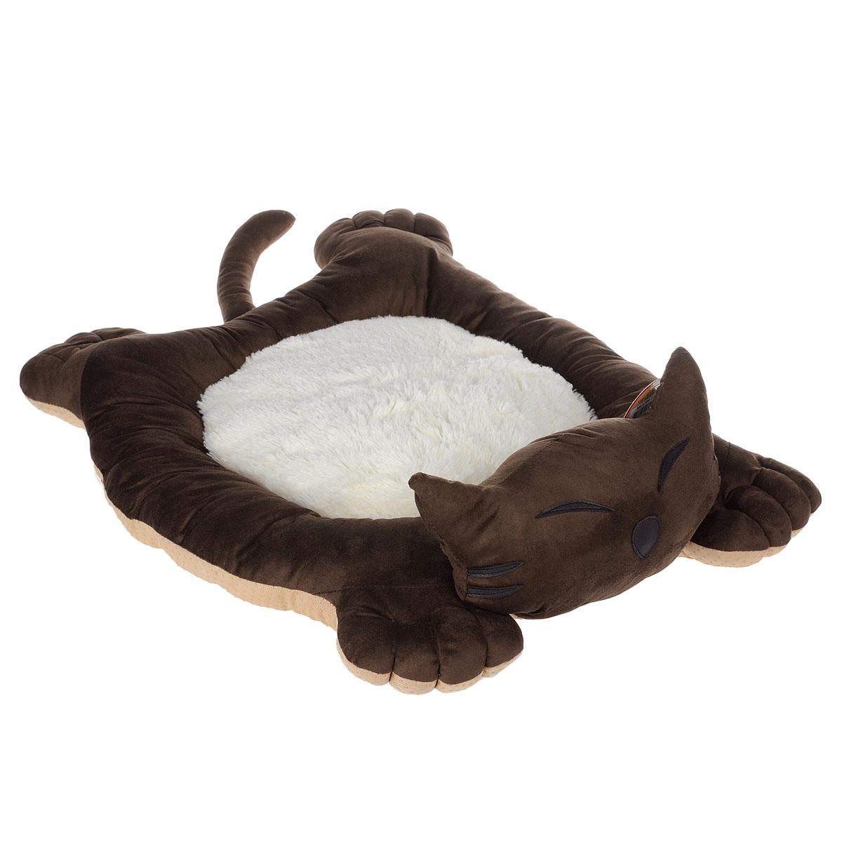 Лежак для собак и кошек I.P.T.S. Sylvester, цвет: коричневый, белый, 56 см х 44 см х 14,5 см19208Мягкий и уютный лежак для кошек и собак I.P.T.S. Sylvester обязательно понравится вашему питомцу. Лежак выполнен в виде кота. Он изготовлен из нежного, приятного материала. Внутри - мягкий наполнитель, который не теряет своей формы долгое время.Мягкий, приятный и теплый лежак обеспечит вашему любимцу уют и комфорт. Подходит как для кошек, так и для маленьких, карликовых пород собак.За изделием легко ухаживать, можно стирать вручную или в стиральной машине при температуре 30°С. Материал бортиков: искусственная замша.Материал матрасика: плюш.Наполнитель: полифибер.Товар сертифицирован.