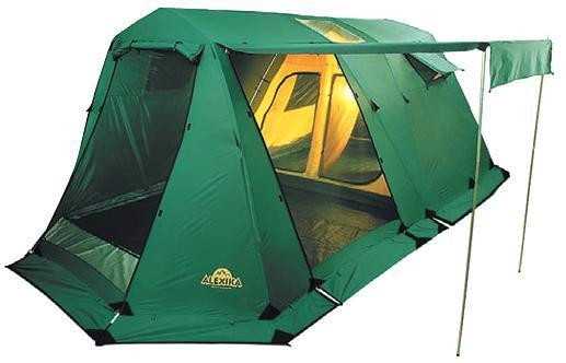 5 -ти местная кемпинговая  палатка   Alexika   Victoria   5   Luxe  – это то, что нужно для туристического похода   большой компанией. Размеры спальных отделений позволяют спокойно спать, не тревожа других туристов, и   передвигаться внутри в полный рост. Несмотря на большие размеры  палатки , вы легко установите ее   практически на любой местности.    В  палатке  имеется три входа, причем вход в тамбур дополнительно защищен большой и плотной   антимоскитной сеткой. Она, с одной стороны, обеспечивает хороший приток воздуха, а с другой - спокойный сон   без непрошеных гостей. Хорошей вентиляции способствуют и окна в спальных отделениях, которые также   защищены антимоскитной сеткой и внешними шторами, закрывающимися на молнию. На крыше расположены два   прозрачных окна, пропускающих свет и позволяющихся любоваться ночным звездным небом.     Палатка   Victoria   5   Luxe  изготовлена из очень прочного материала. Тент устойчив к разрывам от   воздействия сучков и веток и пропитан химическими реагентами, задерживающими распространение огня.   Каркас выполнен из стальных конструкций, которые не содержат изгибаемых элементов. За счет этого  палатка    приобрела еще большую надежность. Для защиты от дождя и ветра, а также сохранения тепла модель оснащена   штормовой юбкой. Швы палатки герметизированы, что не позволяет проникать вовнутрь влаге и сквознякам.  Вес: 25,1 кг. Количество мест: 5. Сезонность: весна-осень. Размер: 600 x 300 x 200 см. Размер в чехле: 98 x 25 см + дуги 102 х 18см. Материал тента: Полиэстер. мин. 4000, макс. 10000 мм H2O. Материал дна: Полиэстер. мин. 6000, макс. 10000 мм Н2О. Внутренняя палатка: есть. Материал дуг: Steel 16мм. Ветроустойчивость: средняя. Количество входов: 3. Цвет: зеленый. Область применения: кемпинг. Технологии:  Пропитка, задерживающая распространение огня.   Швы герметизированы термоусадочной лентой.   Узлы палатки, испытывающие высокие нагрузки, усилены более прочной тканью.   Ветрозащитный полог (юбка) по периметру палатки про