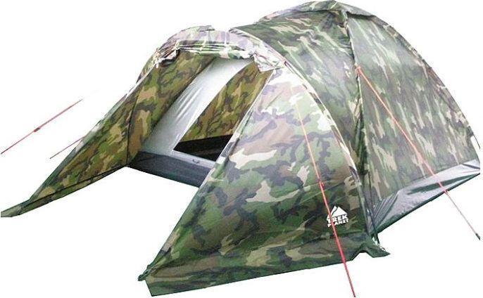 Палатка трехместная TREK PLANET Forester 3, цвет: камуфляж70136Однослойная камуфляжная трехместная палатка Trek Planet Forester 3 станет необходимым атрибутом похода, рыбалки или охоты. Благодаря камуфляжной расцветке, не привлекает лишнего внимания на природе. Большое преимущество этой палатки в том, что в ней есть удобный тамбур, куда можно убрать вещи и обувь.Особенности модели:Размер спальной комнаты: 210 см х 190 см х 120 см;Палатка легко и быстро устанавливается;Палатка оснащена вместительным и защищенным от непогоды тамбуром;Тент палатки из полиэстера, с пропиткой PU водостойкостью 1000 мм, надежно защитит от дождя и ветра;Все швы проклеены;Каркас выполнен из прочного стекловолокна;Дно изготовлено из прочного армированного полиэтилена;Вентиляционное окно сверху палатки не дает скапливаться конденсату на стенках палатки;Москитная сетка на входе в спальное отделение в полный размер двери;Внутренние карманы для мелочей;Возможность подвески фонаря в палатке.Для большего комфорта прилагается чехол для хранения с удобной ручкой.