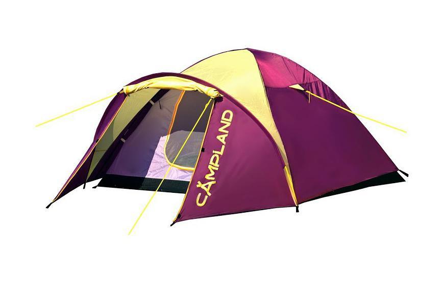 Палатка Campland Drone 3 Violet-YellowDrone 3Легкая и компактная двухслойная трехместная палатка полусфера Campland Drone. Ветроустойчивая конструкция. Тамбур увеличен за счет дополнительной дуги над входом.Идеально подойдет для непродолжительных стоянок и велопоходов. Особенности:Швы проклеены;Вентиляционные окна с москитной сеткой;Чехол с утягивающими стропами. Характеристики: Размер палатки в разложенном виде (ДхШхВ): 320 см х 215 см х 130 см. Наружный тент:72D 190Т полиэстер . Внутренняя палатка: 170T дышащий полиэстер. Дно: армированный полиэтилен 110 г/м2 . Каркас:дуги из фибергласса диаметром 7,9 мм и 8,5 мм. Вес:3400 г. Размер в сложенном виде: 62 см х 14 см х 14 см.