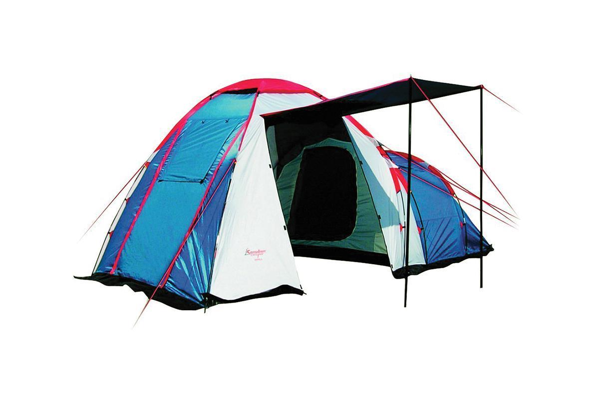 Палатка CANADIAN CAMPER HYPPO 4 (цвет royal)30400012Кемпинговая палатка Canadian Camper Hyppo 4 – одна из самых популярных моделей, которую выбирают современные путешественники. Эта вместительная и просторная палатка легко устанавливается, она отлично подходит для жаркой и прохладной погоды. Палатку известного канадского бренда отличает особенная продуманная конструкция, высокое качество материалов и исполнения.Особенности палатки для кемпинга Canadian Camper Hyppo 4:Палатка предназначена для кемпинговых лагерей, в ней легко могут отдыхать четыре человека; Вес палатки составляет 8,7 кг, это совсем немного для кемпинговой палатки; У палатки Канадиан Кэмпер Хиппо 4 есть одна спальня с низким потолком, а также высокий тамбур, оборудованный тремя входами; Все входы и окна защищены антимоскитными сетками, защищающими от насекомых; Хорошую вентиляцию обеспечивают верхнее вентиляционное окно и дополнительное окно в спальном отделении. Двери можно оставлять открытыми, оставив только сетки, чтобы сохранить прохладу в жаркую погоду; Дверь тамбура-прихожей может быть использована как козырек над входом; «Юбка» по периметру палатки надежно защищает от насекомых, ветра и влаги; Водостойкий материал защищает от дождя и ночной росы, используется огнеупорная пропитка и защита от ультрафиолета; Палатка выпускается в двух цветовых решениях - Royal и Woodland; Тент можно использовать самостоятельно без спального отделения.Производитель палатки - канадская компания Canadian Camper, которая была создана в 1992 году, с тех пор она является одним из лидеров на рынке туристических товаров. Путешественники во всем мире сумели оценить качество и надежность палаток, шатров, мебели для кемпинга, а также многих других вещей для походов и отдыха на природе.Палатка Canadian Camper Hyppo 4 прекрасно подходит тем, кто путешествует на машине и предпочитает длительные стоянки. Она довольно много весит, поэтому в пеших походах ее используют редко. Эту модель легко устанавливать и собирать, она устойчи