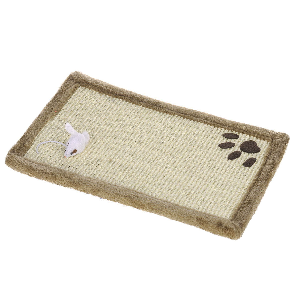 Когтеточка-коврик I.P.T.S., цвет: светло-коричневый, 48 см х 30 см405155Когтеточка для кошек I.P.T.S. выполнена из сизаля в виде коврика, по краям обитого плюшем. Коврик декорирован следом от лапки и белой мышкой.Когтеточка - один из самых необходимых аксессуаров для кошки. Для приучения к ней можно натереть ее сухой валерьянкой или кошачьей мятой.Коврик-когтеточка для кошек I.P.T.S. станет комфортным и любимым местом вашего питомца.