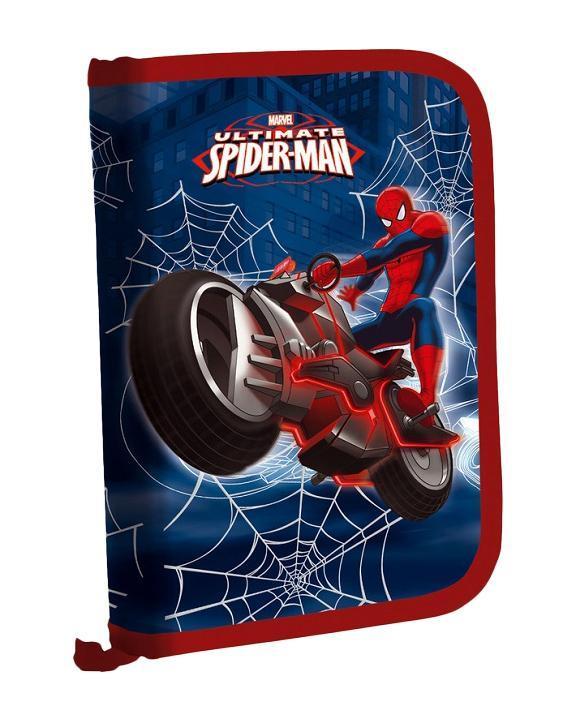Пенал жесткий тканевый с клапаном, с креплениями для канцелярских принадлежностей, размер20,5 х 14 х 3,5 см, Spider-man