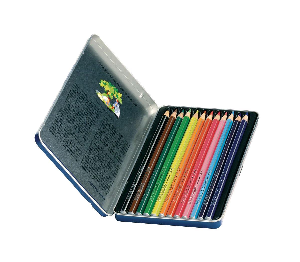 Цветные карандаши Giotto Stilnovo Acquarell,металлической упаковке, 12 цвета256200 От производителяЦветные карандаши Glotto Stilnovo Acquarell непременно, понравятся вашему юному художнику. Набор включает в себя 12 ярких насыщенных акварельных цветных карандаша гексагональной формы с серебряным нанесением по ребру грани. Идеально подходят для школы. Карандаши изготовлены из сертифицированного дерева, экологически чистые, имеют прочный неломающийся грифель, не требующий сильного нажатия и легко затачиваются. На рубашке карандаша имеется место для нанесения имени. Порадуйте своего ребенка таким восхитительным подарком! Набор упакован в удобную металлическую коробку.Цветные карандаши Glotto Stilnovo Acquarell непременно, понравятся вашему юному художнику. Набор включает в себя 12 ярких насыщенных акварельных цветных карандаша гексагональной формы с серебряным нанесением по ребру грани. Идеально подходят для школы. Карандаши изготовлены из сертифицированного дерева, экологически чистые, имеют прочный неломающийся грифель, не требующий сильного нажатия и легко затачиваются. На рубашке карандаша имеется место для нанесения имени. Порадуйте своего ребенка таким восхитительным подарком! Набор упакован в удобную металлическую коробку. Характеристики:Материал:дерево, грифель. Диаметр карандаша:0,7 см. Длина карандаша:18 см. Размер упаковки:18,5 см х 11 см х 1 см. Изготовитель:Китай.