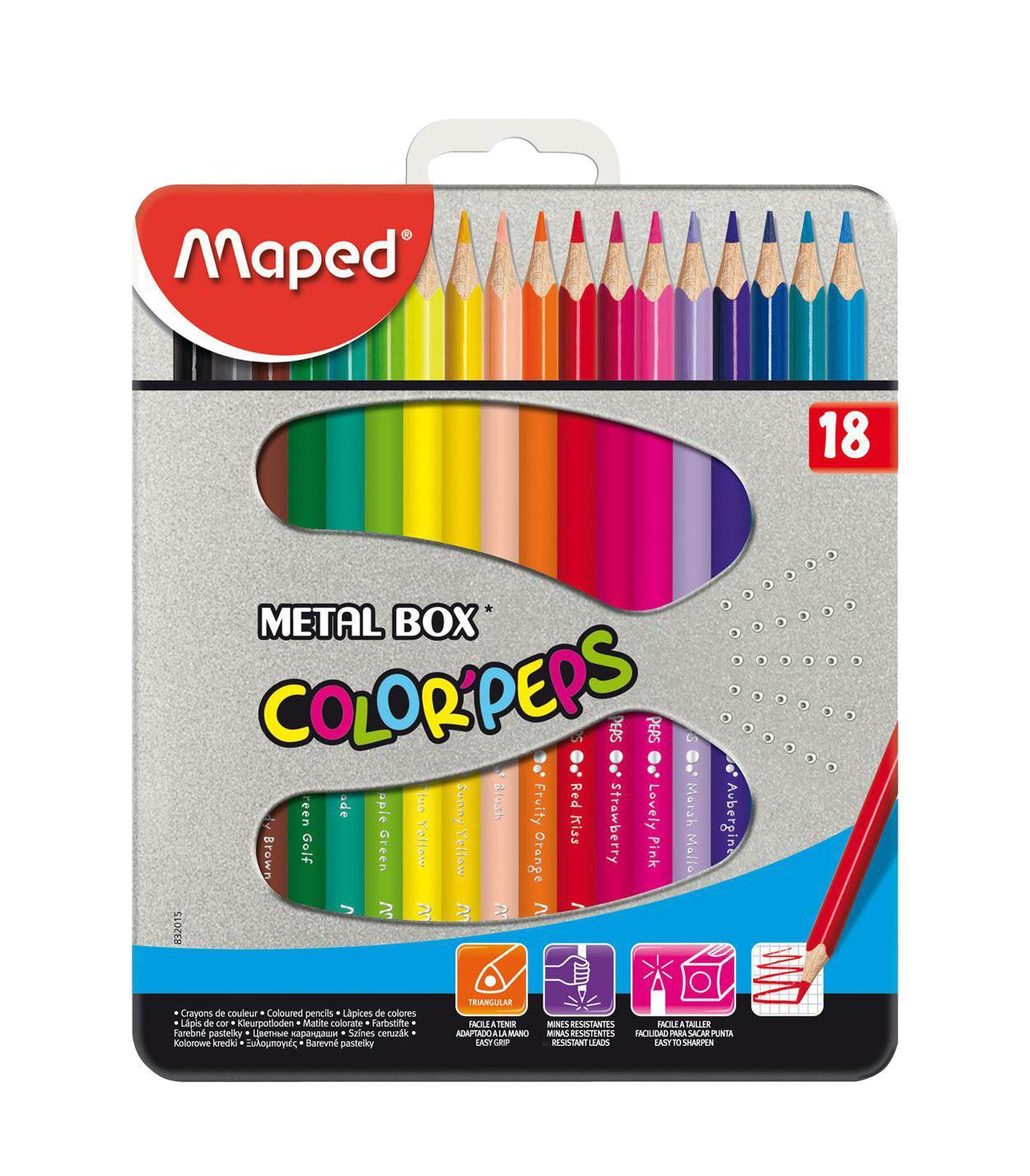 Карандаши цветные Maped Color Peps, в металлическом футляре, 18 цветов832015В процессе рисования у малышей развивается наглядно-образное мышление, воображение, мелкая моторика рук, творческие и художественные способности, вырабатывается усидчивость и аккуратность. Набор содержит карандаши 18 ярких насыщенных цветов, упакованных в прочный металлический футляр. Все карандаши предварительно заточены. Цветные карандаши Color Peps разработаны специально для самых маленьких художников, которые только начинают свой творческий путь. Эргономичный трехгранный корпус из американской липы особенно удобен для маленьких детских ручек. Специальное покрытие и многослойная лакировка уменьшают скольжение, что делает процесс рисования максимально комфортным. Мягкий, ударопрочный грифель не ломается и не крошится при заточке. В процессе рисования у малышей развивается наглядно-образное мышление, воображение, мелкая моторика рук, творческие и художественные способности, вырабатывается усидчивость и аккуратность.Набор содержит карандаши 12 ярких насыщенных цветов, упакованных в прочный металлический футляр. Все карандаши предварительно заточены. Характеристики:Материал: грифель, дерево. Длина карандаша: 17,5 см. Диаметр карандаша: 0,7 см. Размер упаковки:16 см х 19 см х 1,5 см. Изготовитель: Китай.