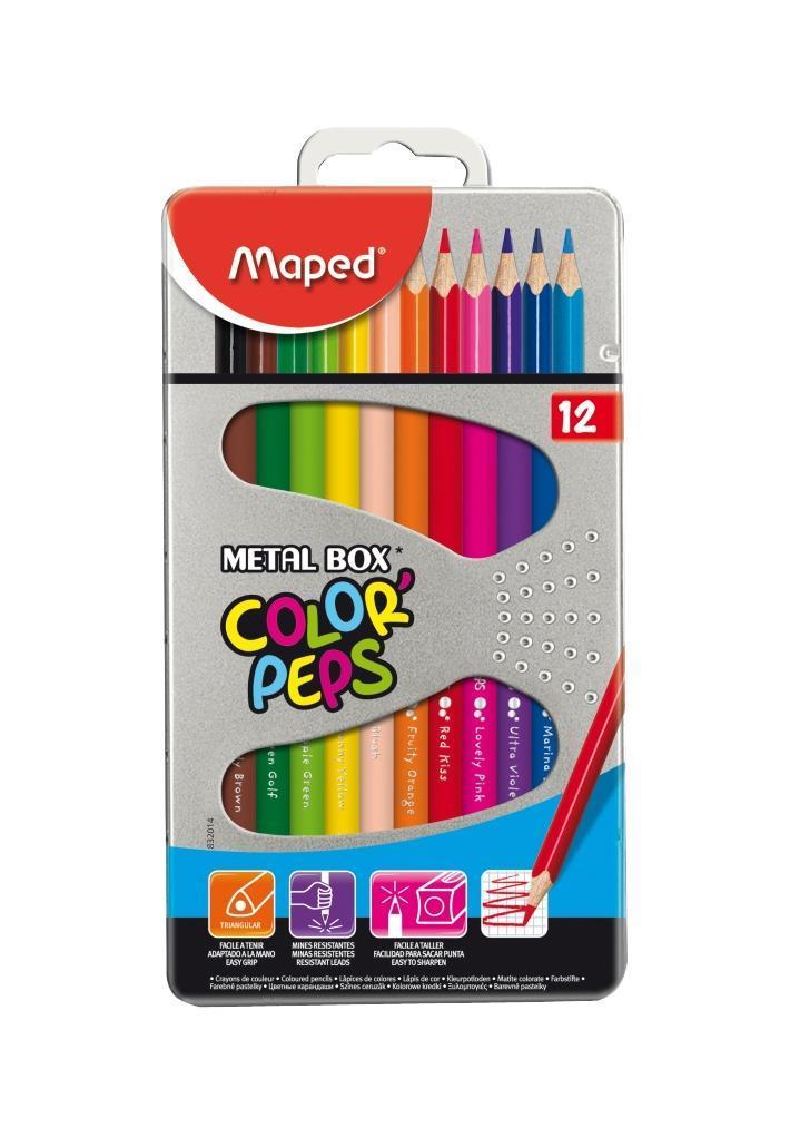 Карандаши цветные Maped Color Peps, в металлическом футляре, 12 цветов77425 В процессе рисования у малышей развивается наглядно-образное мышление, воображение, мелкая моторика рук, творческие и художественные способности, вырабатывается усидчивость и аккуратность. Набор содержит карандаши 12 ярких насыщенных цветов, упакованных в прочный металлический футляр. Все карандаши предварительно заточены.Цветные карандаши Color Peps разработаны специально для самых маленьких художников, которые только начинают свой творческий путь. Эргономичный трехгранный корпус из американской липы особенно удобен для маленьких детских ручек. Специальное покрытие и многослойная лакировка уменьшают скольжение, что делает процесс рисования максимально комфортным. Мягкий, ударопрочный грифель не ломается и не крошится при заточке.В процессе рисования у малышей развивается наглядно-образное мышление, воображение, мелкая моторика рук, творческие и художественные способности, вырабатывается усидчивость и аккуратность.Набор содержит карандаши 12 ярких насыщенных цветов, упакованных в прочный металлический футляр. Все карандаши предварительно заточены. Характеристики:Материал: грифель, дерево. Длина карандаша: 17,5 см. Диаметр карандаша: 0,7 см. Размер упаковки:10 см х 18,5 см х 1,2 см. Изготовитель: Китай.