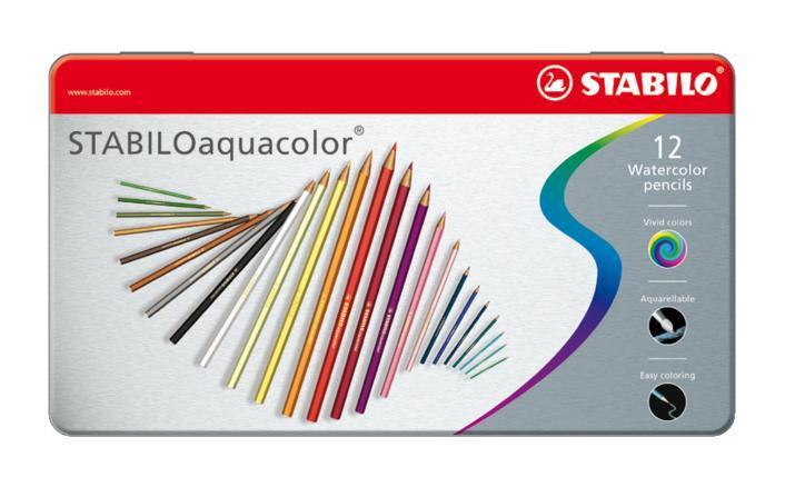 Карандаши цветные акварельные Stabilo  Aquacolor  в металлическом футляре, 12 цветов -  Карандаши