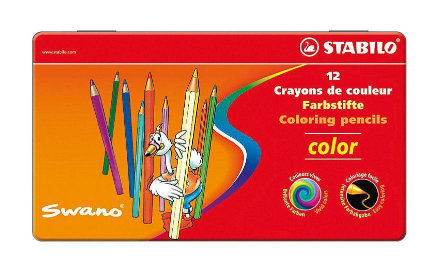 Карандаши цветные Stabilo Color в металлическом футляре, 12 цветов1812-77Серия цветных карандашей STABILO color в металлических футлярах. Широкая гамма цветов,которые отлично смешиваются и позволяют создавать огромное количество оттенков.Насыщенные цвета имеют высокую светостойкость. Мягкий грифель легко рисует на бумаге, нецарапая ее и не крошась. Карандаши не ломаются при рисовании и затачивании.Характеристики:Материал:дерево. Диаметр карандаша:0,7 см. Диаметр грифеля: 2,5 мм. Длина карандаша:9,5 см. Размер упаковки:18 см х 10 см х 1 см.Изготовитель:Германия.Уважаемые клиенты! Обращаем ваше внимание на то, что упаковка может иметь несколько видов дизайна.Поставка осуществляется в зависимости от наличия на складе.