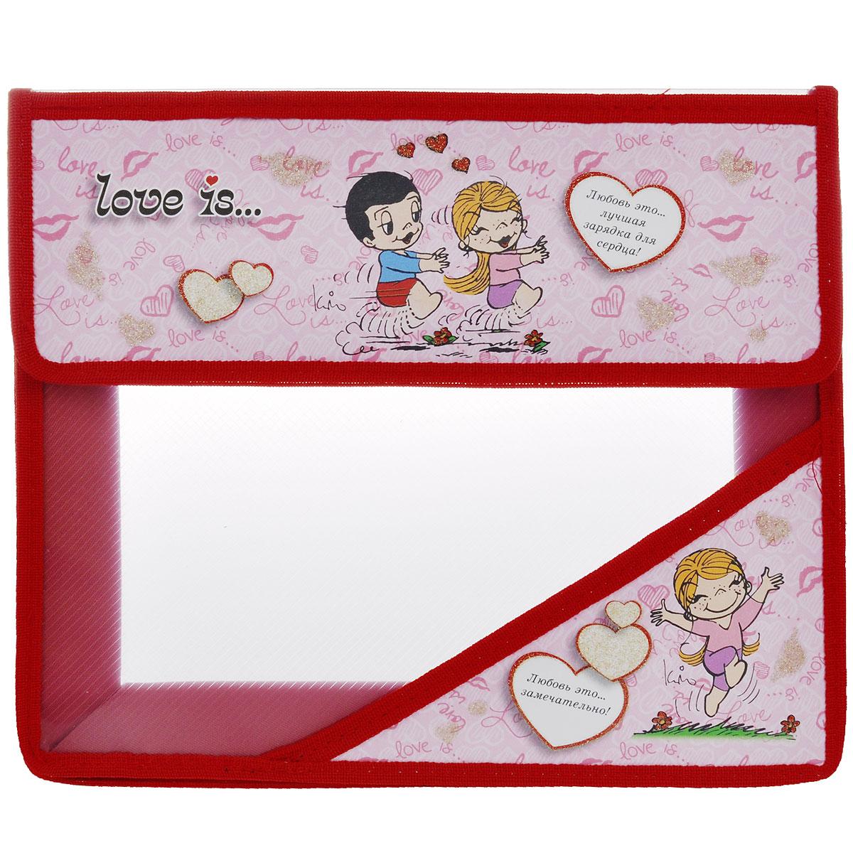 Папка для тетрадей Action! Love is, цвет: розовый, красный. C37684/LI-FA5C37684/LI-FA5 розовыйПапка Action! Love is предназначена для хранения тетрадей, рисунков и прочих бумаг с максимальным форматом А5. Папка выполнена из прочного материала и содержит одно отделение. Закрывается она клапаном на липучку. Клапан оформлен изображением двух влюбленных и надписью Любовь это... лучшая зарядка для сердца!. Стенки папки прозрачные.С папкой Action! Love is тетради вашего ребенка всегда будут выглядеть опрятно.