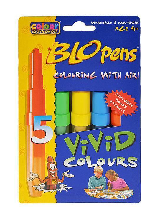 Набор фломастеров Centropen  Blopens Vivid , с трафаретом, 5 цветов -  Фломастеры