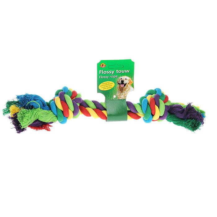 Игрушка для собак I.P.T.S. Канат с 2-мя узлами, цвет: красный, зеленый, фиолетовый игрушка для собак titbit канат с рулетом из кожи длина 35 см