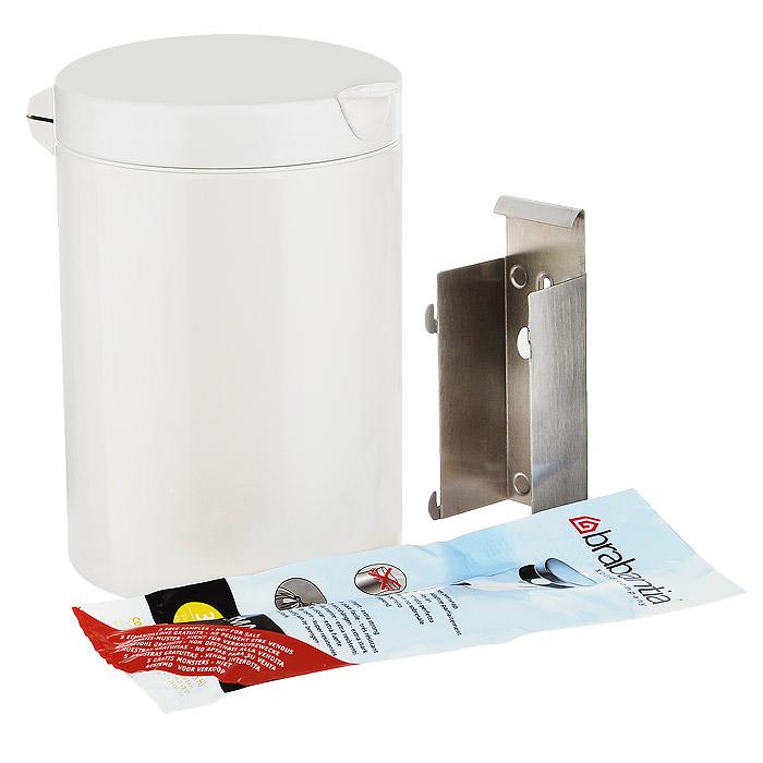 Бак мусорный Brabantia, настенный, цвет: белый, 3 л. 218668102640Отличный выбор для ванной комнаты и туалета!Бесшумный и не пропускающий запах бак.Удобная очистка – съемное внутреннее ведро из пластика.Настенный бак легко снимается с изготовленного из нержавеющей стали держателя для оптимальной очистки.Долговечность – изготовлен из высококачественных коррозионно-стойких материалов.Всегда опрятный вид – идеально подходящие по размеру мешки для мусора со стягивающей лентой (размер A).10-летняя гарантия Brabantia.