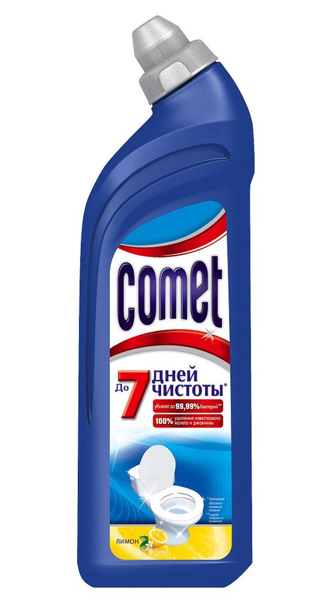 Чистящее средство для туалета Comet, лимон, 750 млCG-80227820Чистящее средство для туалета Comet сохраняет чистоту до 7 дней, благодаря защитному слою. Средство отлично чистит и удаляет известковый налет и ржавчину, а также дезинфицирует поверхность. Обладает приятным ароматом сосны и цитрусов.