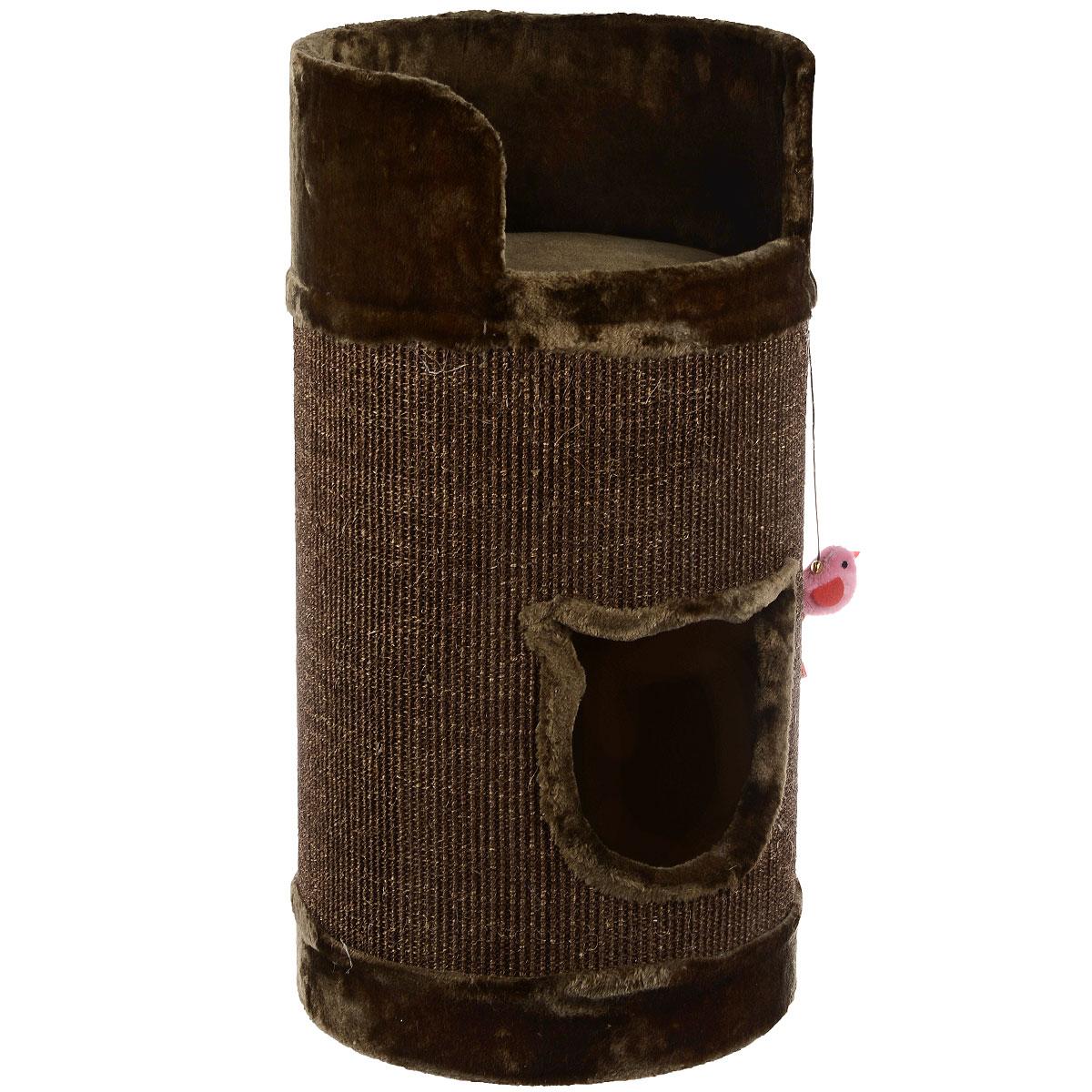 Домик-когтеточка для кошек I.P.T.S. Bruno, цвет: коричневый, 38 см х 38 см х 75 см25875Домик-когтеточка для кошек I.P.T.S. Bruno выполнен из ДСП, плюша и сизаля.Удобная когтеточка в виде бочки позволит приучить кошку точить коготки в строго определенном месте. Сверху имеется удобная площадка с бортиком, где вашему питомцу будет удобно спать.