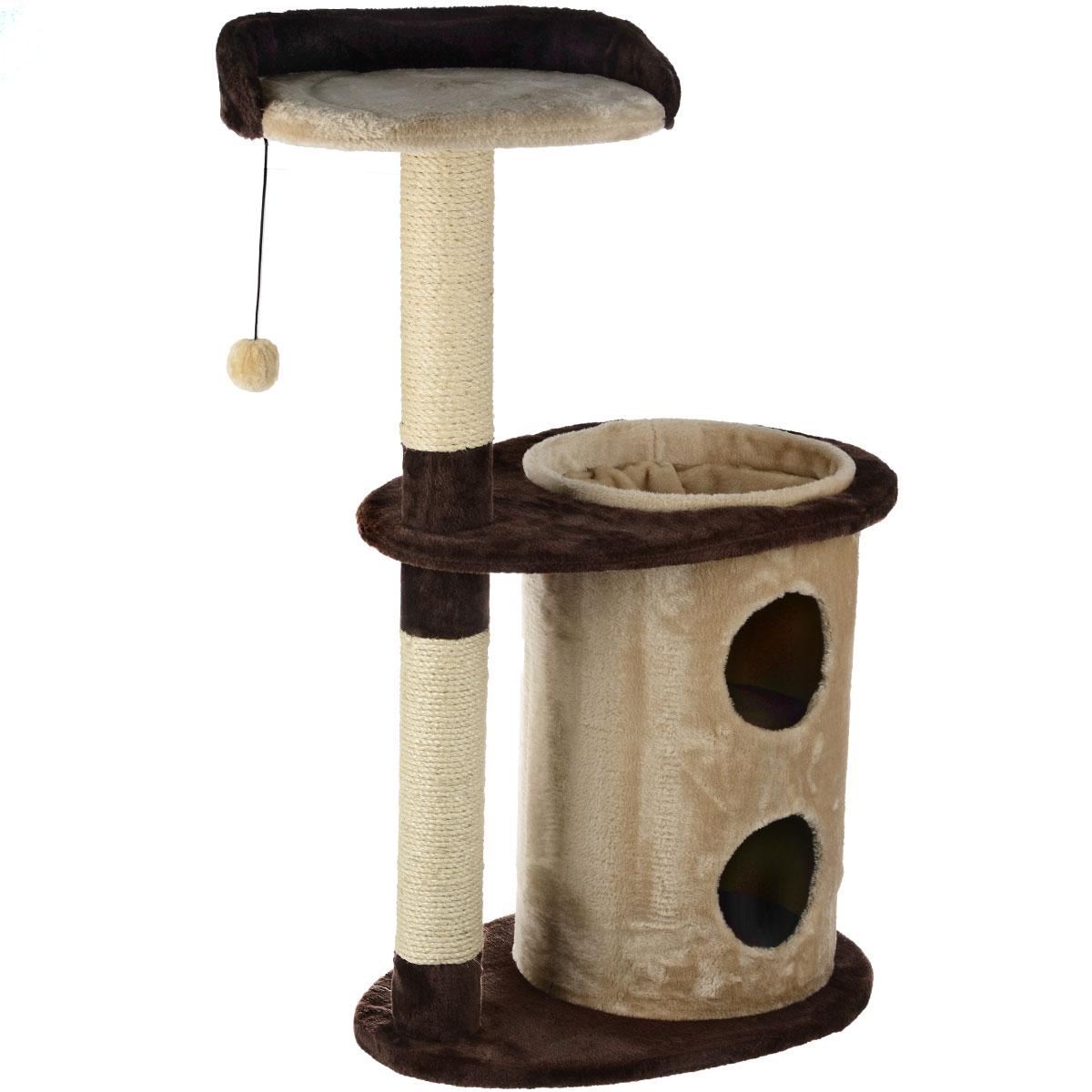 Домик-когтеточка I.P.T.S. Casa, 63 см х 43 см х 105 см25869Домик-когтеточка I.P.T.S. Casa изготовлен из ДСП, обтянут мягким плюшем. Столбик-когтеточка изготовлен из натурального материала сизаля.Двухуровневый домик оснащен туннелем-норой, где можно укрыться от посторонних глаз, площадкой с бортиком для сна и отдыха, а также подвесной игрушкой, с которой ваш питомец будет забавно играть.