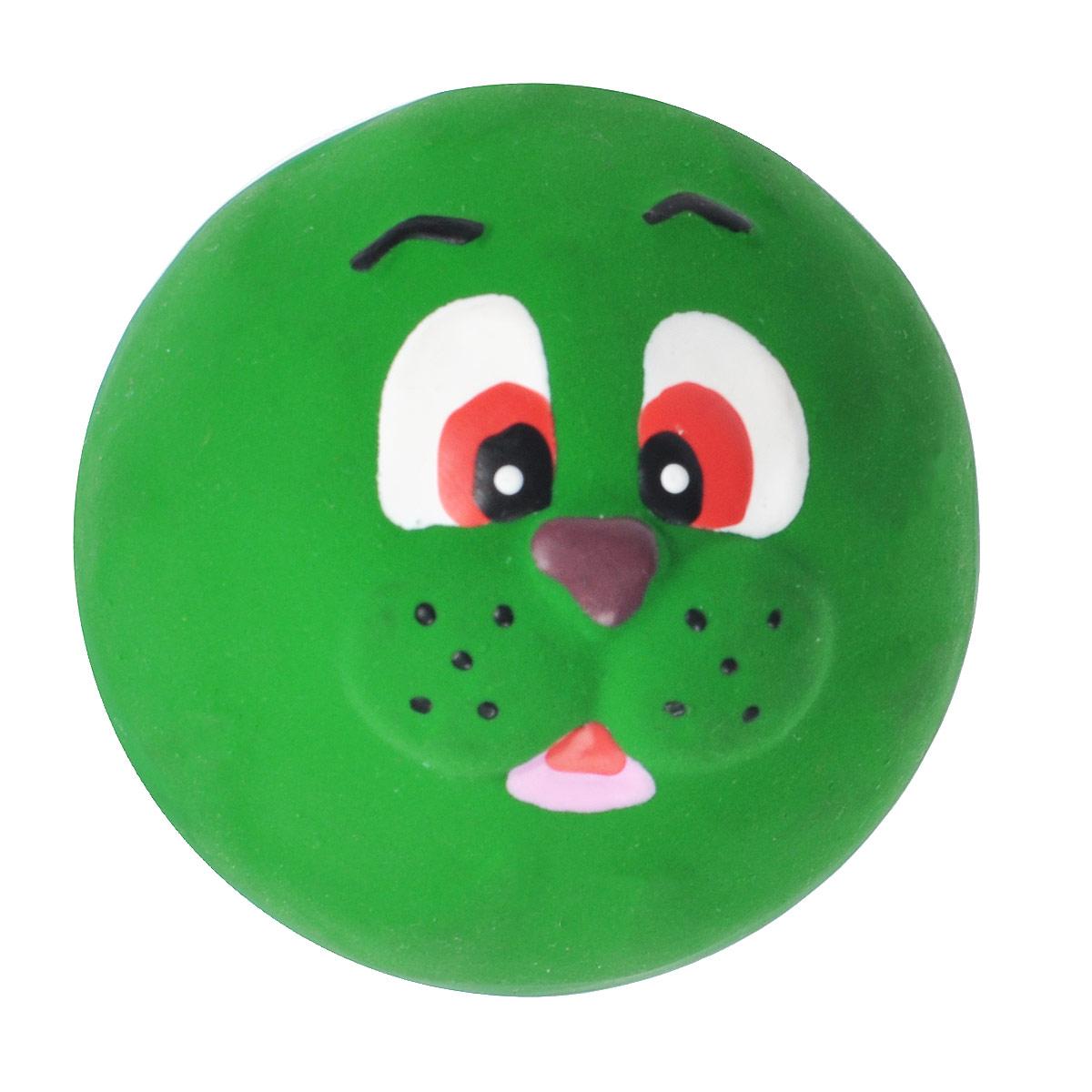 Игрушка для собак I.P.T.S. Мяч с мордочкой животных, цвет: зеленый, диаметр 7 см игрушка для животных каскад гамбургер диаметр 7 5 см