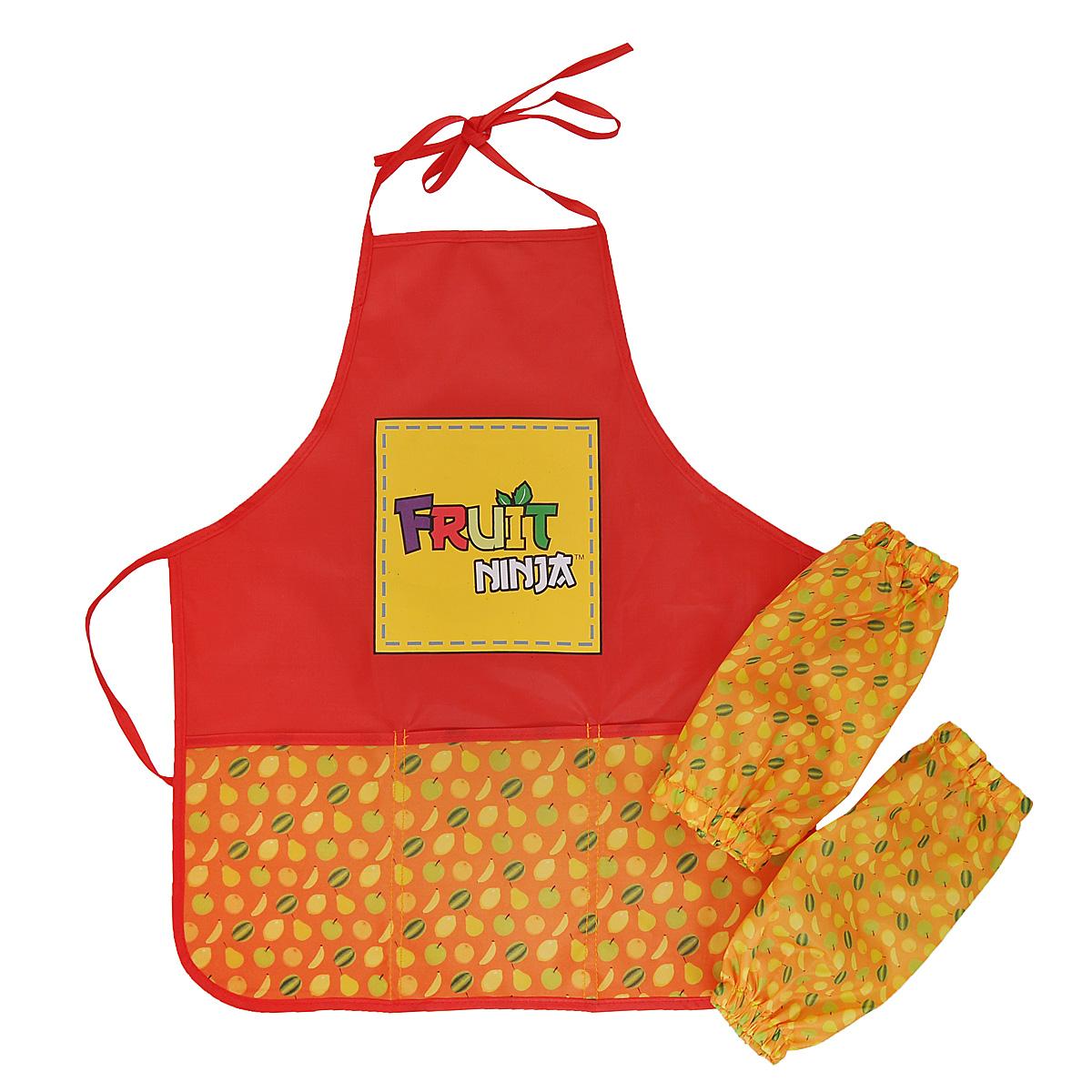 Фартук для детского творчества Action!  Fruit Ninja , с нарукавниками, цвет: оранжевый, красный -  Аксессуары для труда