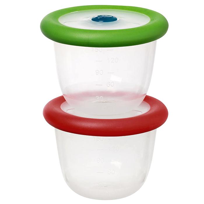 Контейнер Bebe Confort с крышкой, 150 мл, 2 шт bebe confort комплект из 2 х сосок из латекса для бутылочек с широким горлышком сильный поток